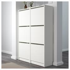 Shoe Storage Ideas Ikea by Bissa Shoe Cabinet With 3 Compartments White 49x135 Cm Ikea