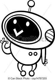 vector clipart cartoon kawaii robot coloring black