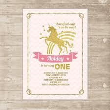 Invite Birthday Card Unicorn Pink Gold Invitation Rainbow Invite Glitter Magical Flying