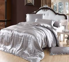 Duvet Cover Double Bed Size Aliexpress Com Buy Silver Bedding Sets Grey Silk Satin
