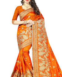shop durga puja special sarees online in orange colour blended