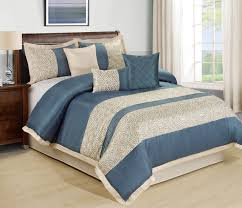 Blue Bed Set 7 Piece Liverpool Blue Beige Comforter Set