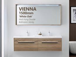 vienna 1500mm white oak timber wood grain wall hung double
