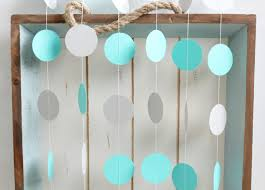 turquoise and grey 12 ft circle paper garland wedding