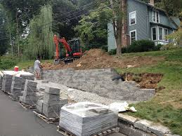 concrete block retaining wall giroux landscaping