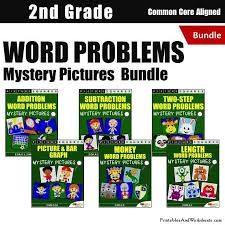 2nd grade word problems mystery pictures coloring worksheets