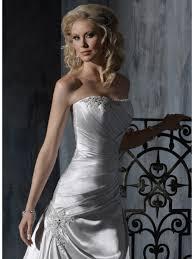a line strapless sweep train silver satin wedding dresses cheap 801081