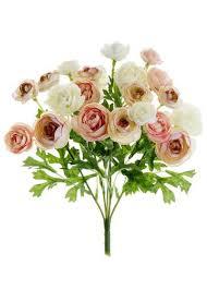 pink ivory ranunculus bush silk flowers for diy brides