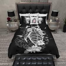 black flower torso skeleton skull duvet bedding sets duvet room decor black floral torso skeleton skull duvet bedding sets