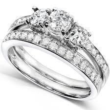 wedding band set diamond engagement ring and wedding band set 3 4 carat ctw