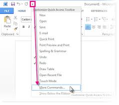 add commands to the quick access toolbar office support