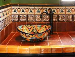 artistic sink traditional pattern small bathroom decor mexican