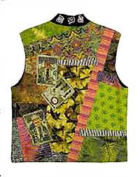 Christine Barnes Wearables Christine Barnes Kimono Collage Vest Shibori Dragon