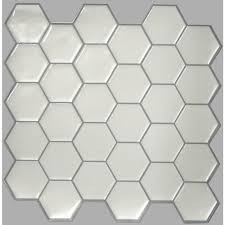 sticktiles 10 5 in w x 10 5 in h pearl hexagon peel and stick
