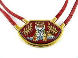 vintage leather choker necklace images Hermes vintage tigre royal leather and enamel choker necklace at JPG