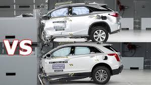 lexus suv safety crash test 2017 cadillac xt5 vs 2016 lexus rx 350 youtube