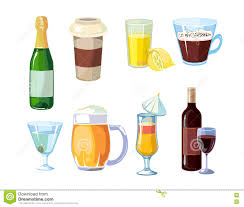 alcohol vector alcohol and non alcoholic drinks with bottles glasses vector