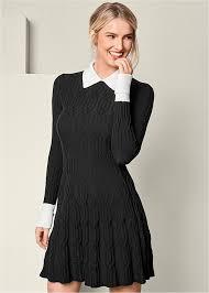 black sweater with white collar black white collar detail sweater dress trends venus