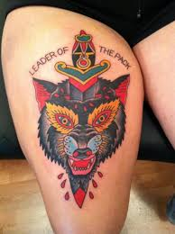 wolf and dagger tattoo traditional tattoos