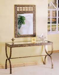 Metal Entry Table 2pc Entry Way Console Table Mirror Set Brown Metal