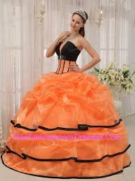 Pretty Orange Aqua Ball Gown Strapless Floor Length Organza Beading Quinceanera