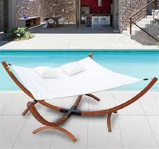 outsunny patio wooden arc lounger w 2 pillows cream aosom co uk