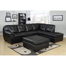 luxurious cozy black leather sofa design in stunning peach colored