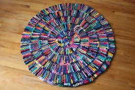 Tied Rag Rug T Shirt Rag Rug Rainbow Circular Round Shabby Cottage Chic Log