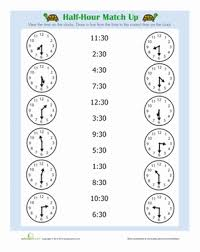half hour telling time worksheets and worksheets for kids