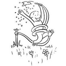 picnic with curious george coloring page color online happy