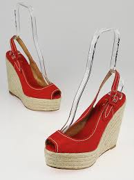 christian louboutin red canvas espadrille wedge sandals size 9 5