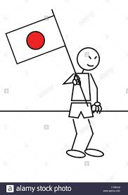 vector illustration of a boy with a japan flag stick figure stock
