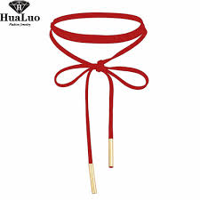 red necklace images Hualuo new fashion sexy red choker necklace velvet long necklace jpg
