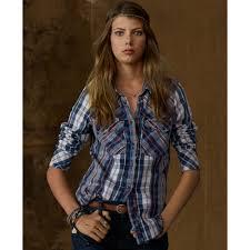 denim u0026 supply ralph lauren longsleeve plaid flannel shirt in blue