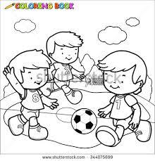 coloring outline cartoon boy soccer stock vector 443182006
