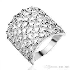 rings design fashion design square grid sterling silver finger ring fit women