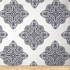 esperanza medallion white navy discount designer fabric fabric com