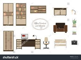 office interior furniture colorful flat design stock vector