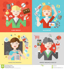market research analyst jobs business and marketing professions flat illustration stock vector