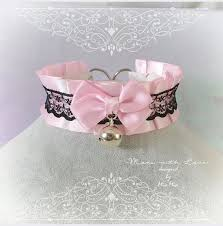 pink collar necklace images Kitten pet play collar bdsm ddlg choker necklace pink black lace bow jpg