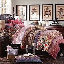 amazon com boho paisley print luxury duvet quilt cover and shams
