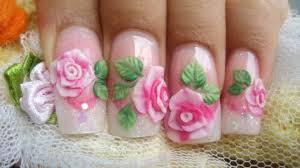 how to make pink 3d acrylic roses cute glitter nails kawaii youtube