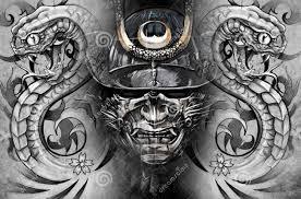 helmet tattoo u2013 grey ink samurai and flower designs