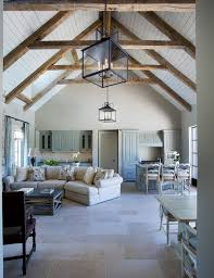 cathedral ceilings with exposed beams white washed bright