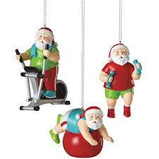 santa shapin up workout with exercise bike fitness