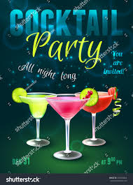cocktail party poster alcohol beverages glasses stock vector