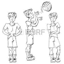 set of vector full length hand drawn caucasian teens black and