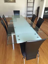 Modern Glass Dining Table Set Furniture Rectangle Glass Dining Table And Set Of 6 Black Dining