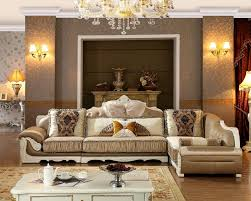 Livingroom Light Living Room White Leather Sofa Floral Cushions Chandeliers Light