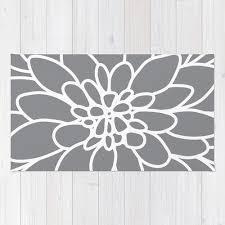Flower Area Rugs by Modern Dahlia Flower Rug Area Rug Slate Grey And White